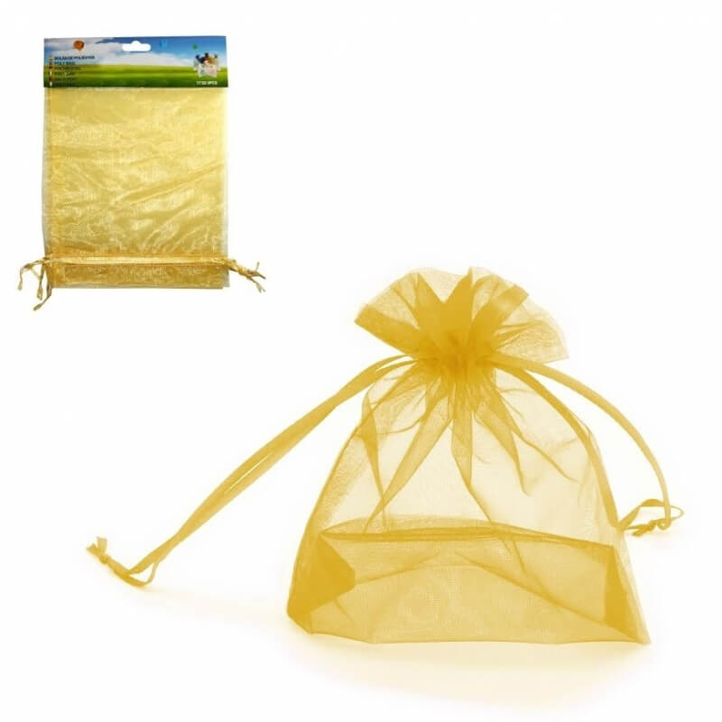 Paquet de Sachets en Organza Dorés 17x23
