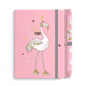 Cahier Flamant Rose et Stylo