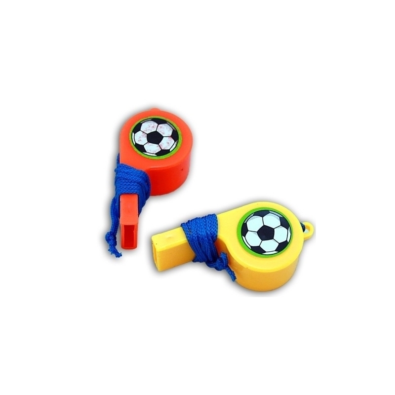 Orange Lot x2 Sifflet Plastique Football 4 cm avec Cordon Jaune