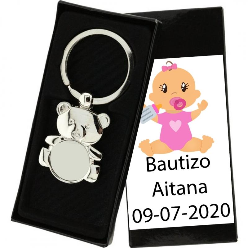 Porte-clés baptême ours