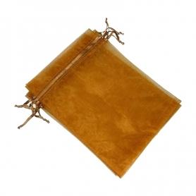 Decoration cadeaux pochettes organza chocolat