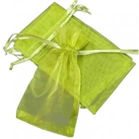 Pochette cadeau organza vert 9x15