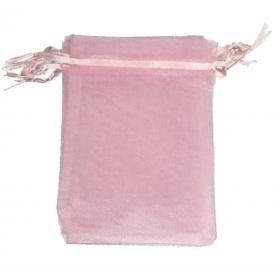 Decoration cadeau pochette organza rose