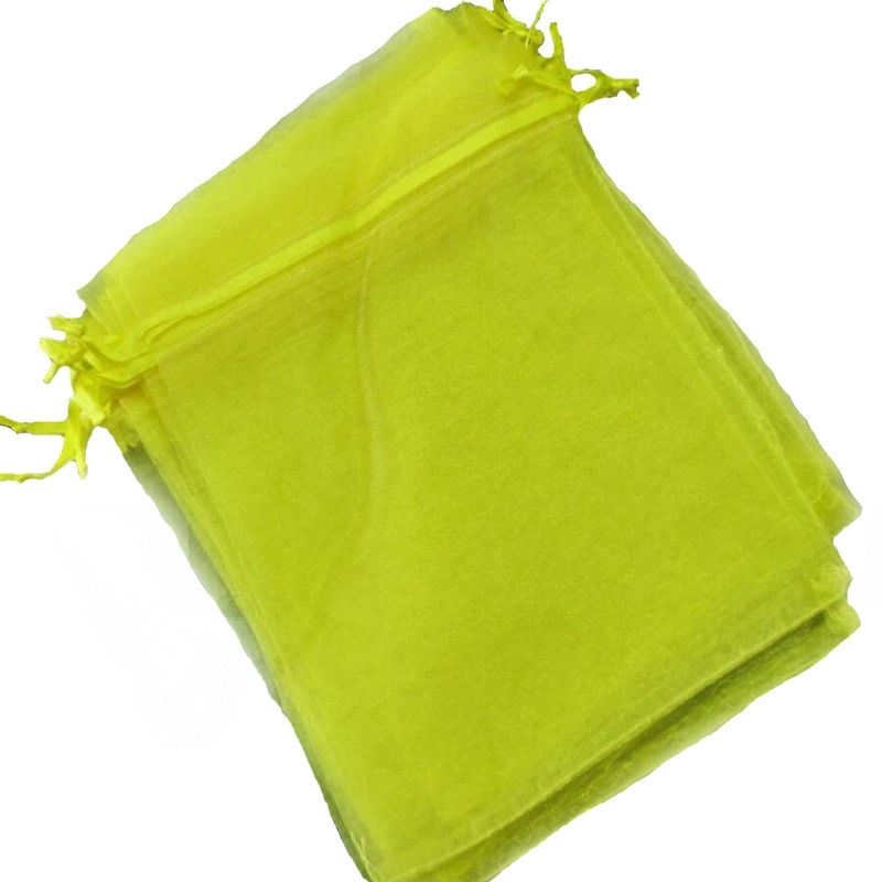 Petit sac cadeau organza pas cher jaune