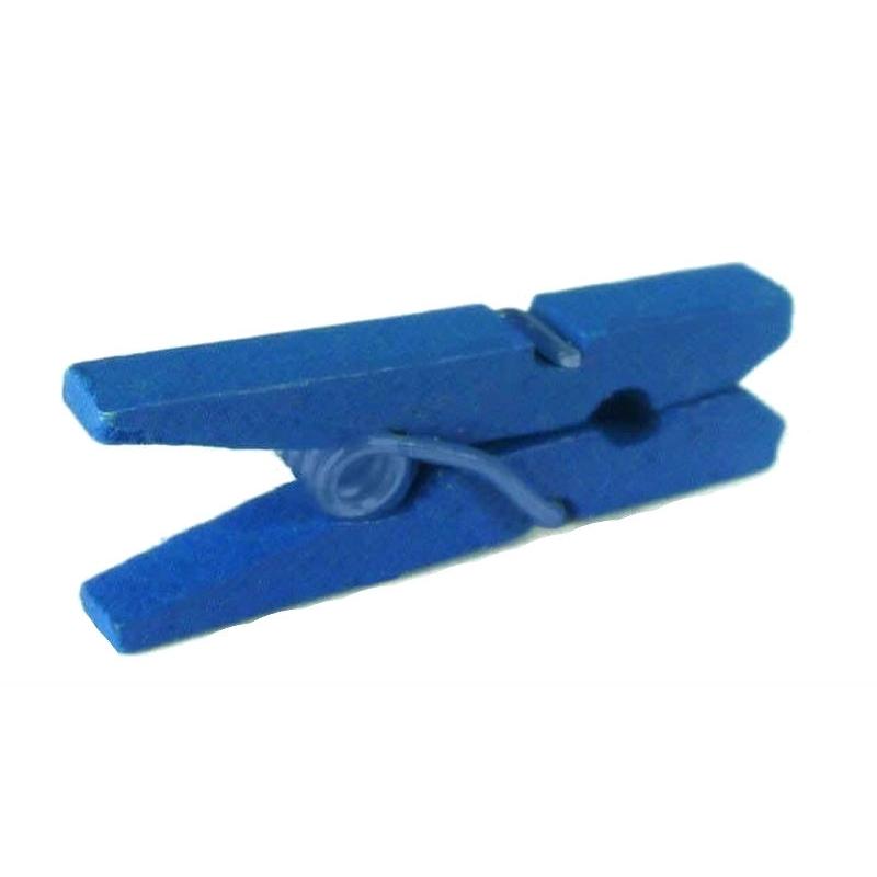 Mini pince en bois bleu