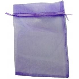 Pochette en organza lila pas cher 13 x 17
