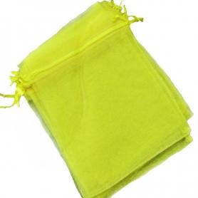 Pochette cadeau organza jaune 10x13