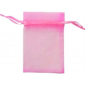 Petit sac organza pas cher rose 7x10