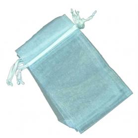 Petit sac cadeau organza bleu ciel
