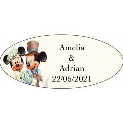 Etiquette Autocollante pour Cadeaux de Mariage Mickey