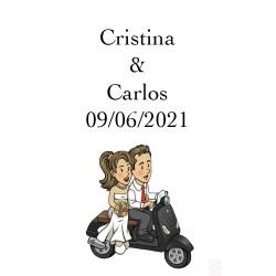 Etiquettes de Vin pour mariage Will & Grace en Moto