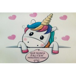 Adhesivo unicornio rectangular 7,5 x 5 cm