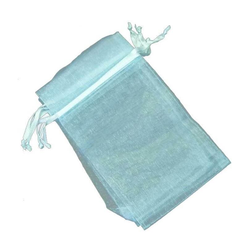 Organza pochette pas cher bleu 9x15