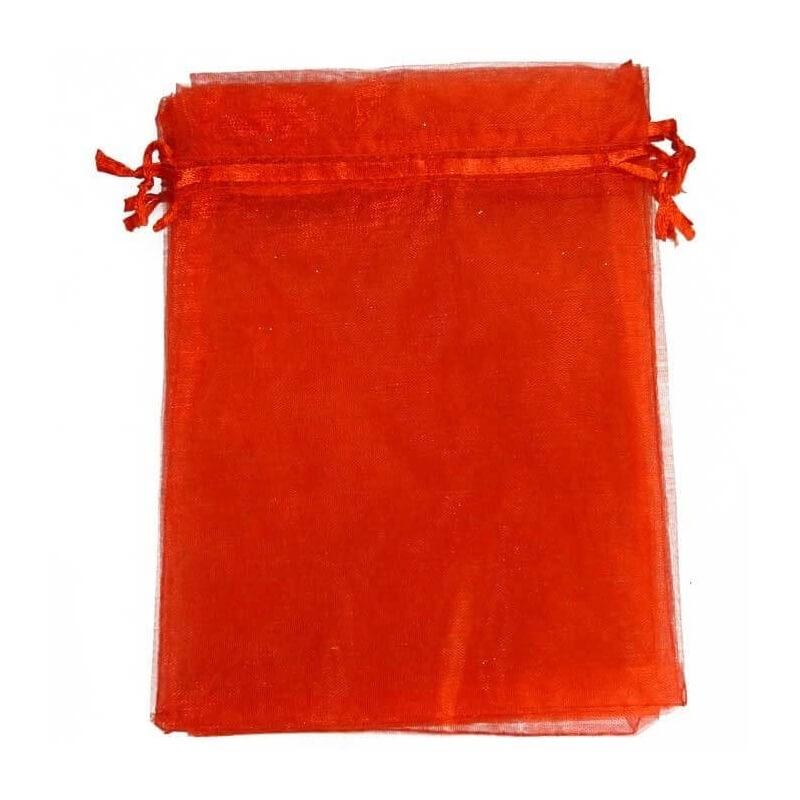 Pochette cadeau organza rouge 15x20