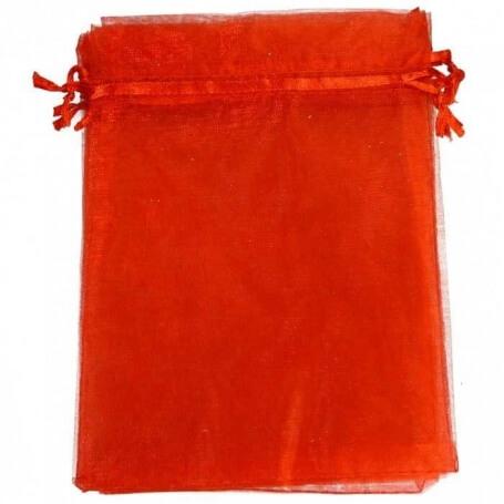 Pochette cadeau organza rouge 15x20  sachet cadeau organza