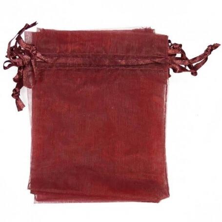 Pochette cadeau organza grenat 10x13  sachets organza 10 x 13