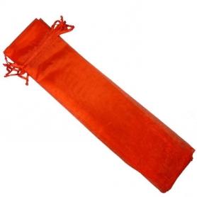 Etui pour eventail organza rouge