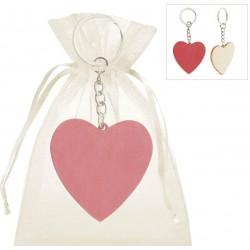 Porte-clé coeur en bois...