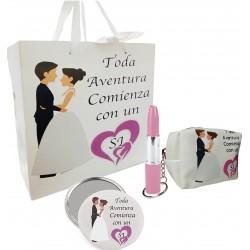 Coffret cadeau dans un sac de mariage avec miroir, sac à...