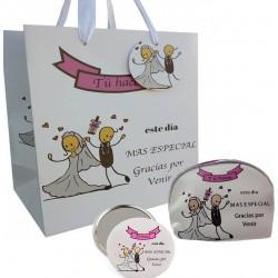 Coffret cadeau de mariage avec miroir, sac à main et sac