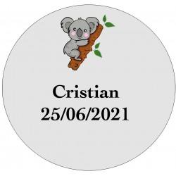 Autocollant koala transparent personnalisé avec nom et date