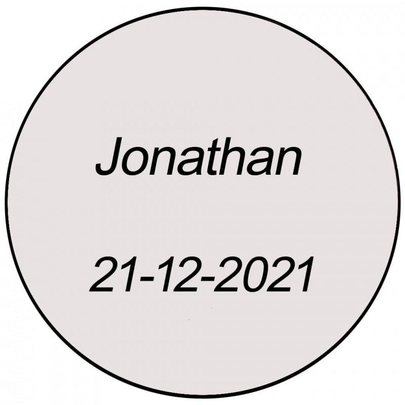 Autocollant transparent rond avec nom et date