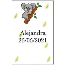 Autocollant Koala personnalisé avec nom et date