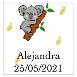 Adhesivo koala cuadrado con nombre y fecha