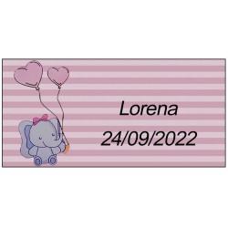 Sticker éléphant rose, personnalisé pour le baptême