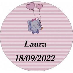 Sticker éléphant rose rond personnalisé pour le baptême