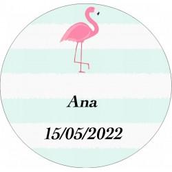 Adhesivo flamenco, redondo personalizado con nombre y fecha