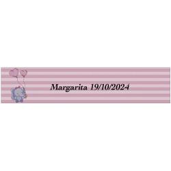 Sticker éléphant rose, rectangulaire personnalisé pour...