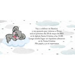 Invitation koala personnalisée pour les baptêmes