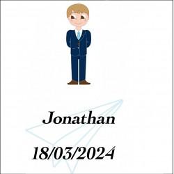 Sticker garçon communion, carré personnalisé