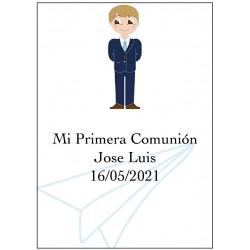 Sticker communion garçon, grand personnalisé