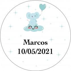 Sticker rond éléphant bleu personnalisé pour baptême ou...