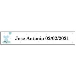 Sticker éléphant bleu, rectangulaire personnalisé pour le...