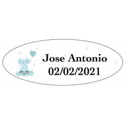 Sticker éléphant bleu, ovale personnalisé pour le baptême