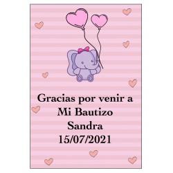 Sticker éléphant rose personnalisé pour baby shower ou...