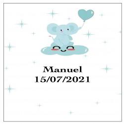 Sticker éléphant bleu, carré personnalisé pour baptême