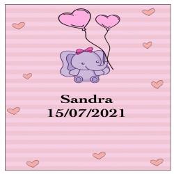 Sticker éléphant rose, carré personnalisé pour baptême