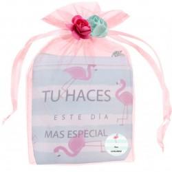 Porte-monnaie carré flamants roses personnalisé et...