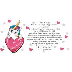 Invitation de coeurs de licorne, personnalisée pour les...