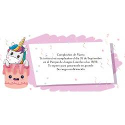 Invitation licorne personnalisée pour anniversaire