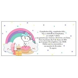 Invitation Licorne arc-en-ciel, personnalisée pour...