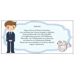 Invitation de garçon de communion personnalisée