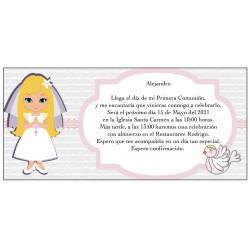 Invitation de communion fille personnalisée