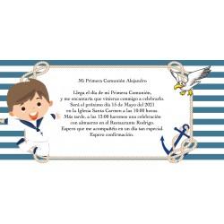 Invitation de communion de marin personnalisé