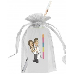 Bloc-notes de mariage avec adhésif, crayon et sac en organza