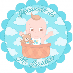 Sticker baptême bébé garçon